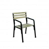 Кресло «Беседа» с подлокотником, каркас черный без бруса