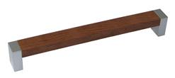 Ручка-скоба пластиковая, 160мм., мод. С-18, металлик/орех (тон 1)