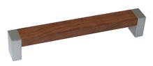 Ручка-скоба пластиковая, 128мм., мод. С-18, металлик / орех